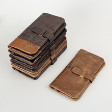 Luxury Brand Vintage 100% Genuine Leather Cowhide Men Long Bifold Wallet Wallets Purse Card Holder With Zipper Coin Bag