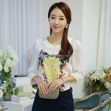 HJC-1061 Veri Gude 2015 sping latest design floral printed white women's fashion chiffon blouse top