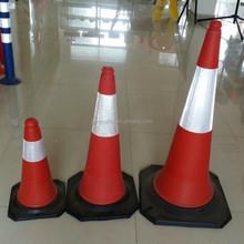 PE traffic cone with rubber base, soft traffic cone, red traffic cone
