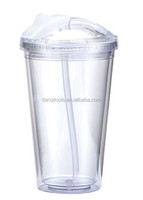 double wall acrylic tumbler with straw wholesale,drink cup
