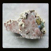 Drusy Rose Quartz And Pyrite Mineral Specimens Stone