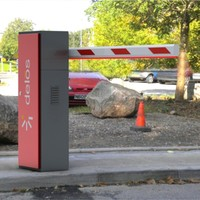 Red Stainless Steel Remote Control Parking Boom Barrier