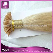 el color rubio europea virgen remy del pelo de huma i el pelo de punta de fusión fría las extensiones de cabello