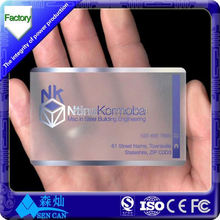 13.56MHz transparent smart card/ contactless RFID business card with clear ntag203/Classic 1k chip