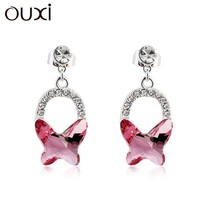 2015 ouxi summer long drop butterfly fashion dangle earrings made with Swarovski Elements 20681