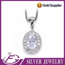 Hot single gemstone pave cz stone silver 925 pendant quartz