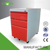 Bright color OEM/ODM hair salon steel storage cabinets with wheels