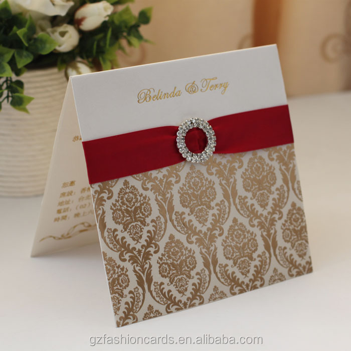 2014 Hot Sale Fancy Wedding Invitation Cards With Ribbon And Buckle ...