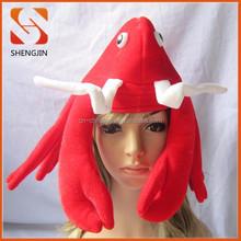 New design lobster hat Party Decorations red velvet Crazy Carnival Hat