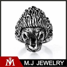2015 hot sale cheap mens stainless steel jewelry lion head rings