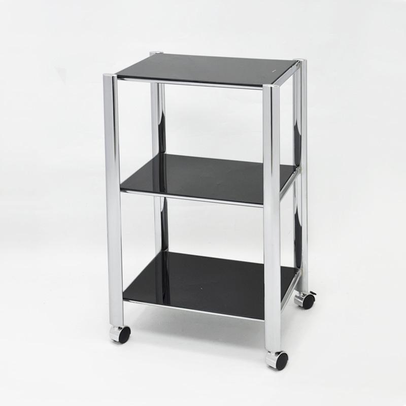 3 tier bathroom storage four wheel glass shelf trolley - Bathroom storage on wheels ...