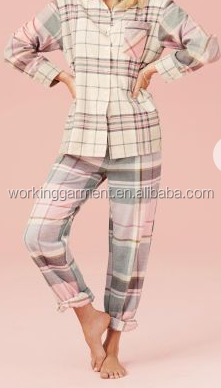 langarm kariertes flanell rosa m dchen nachthemd mit knopf. Black Bedroom Furniture Sets. Home Design Ideas
