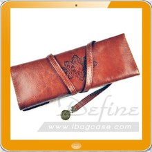whole sale special leather cosmetic brush bag eyebrow pencil bag
