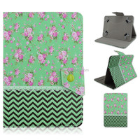 Green Wave Rose Design Flip Stand PU Leather Cover Case For 7/10 inch Universal Tablet PC Factory Sale