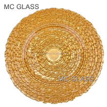 New Cheap Wholesale Wedding Fashion Fancy Unique Embossed Gold Sliver Square Glass Charger Plate for Hotel Restaurant