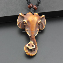 Cheap Pendant modelled after an antique bone carving elegant elephant head necklaces,unique jewelry factory