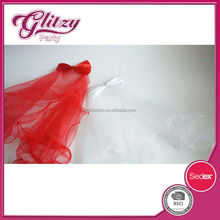 YW-08 2015 Pretty seaside wedding veil red and white tulle mantilla fancy hair decoration for bride with girls
