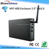 custom aluminum case 3.5 wifi hdd enclosure usb 3.0 hard drice case wifi hard disk box
