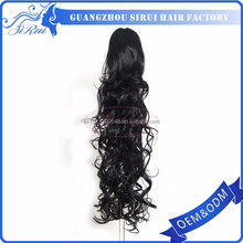 Wholesale synthetic hair beaded ponytail holder, best quality kinky straight wrap around ponytail, black curly ponytail
