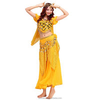 Free Shipping Sexy Belly Dance Costume Set Shoulder Top Highlights Skirt Hip Scarf Veil Scarf