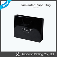 Factory Price Custom Black Laminated Paper Gift Bags