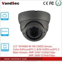 Vandsec New arrival 4K Dome IP Camera Home Security 4mp Black Indoor CCTV Wireless IP Camera