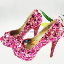 Fashion Heels Wholesale Shoes peep toe wedding shoes Handmade Crystal Shoes