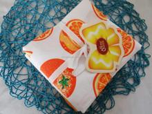 100 cotton printed orange tea towel