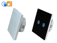 UK Standard 2 Gang 1 Way Crystal Glass LED Wireless Touch Dimmer Wall Light Switches