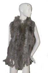 QD70200 Women Fashion Dress Knit Rabbit Fur Vest With Raccoon Fur Collar and Double Fringes