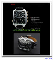 Holiday sales of luxury brands movement V6 three large dial men's watch black military army pilot watches Christmas gift
