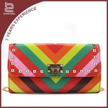 Rainbow Rectangle pu leather Handbags affordable handbags for women