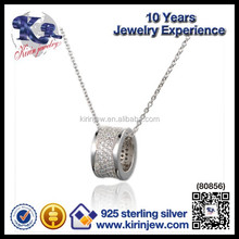 Three colour change 925 sterling silver dumbbell pendant