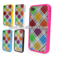Colorful Plaid Grid Hard Shell Skin Case Cover For iphone 4S 4G