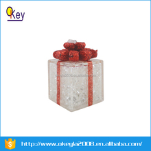 Lighted Christmas gift box snow white with red Bow