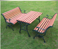 Cast iron long wood plastic waterproof economic outdoor table and bench