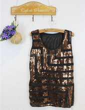 The new nail bead sequined sleeveless condole female xia render unlined upper garment big yards top T-shirt