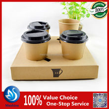 portable coffee cup carriers 2 /4 cavities paper beverage holder/carrier/tray