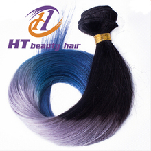 top quality Grade straight hair gray and bule color ombre hair For Sale Brazilian hair