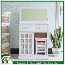 Folding K/D solid wood dresser/ dressing table with stool and mirror
