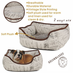Luxury Linen Fabric Pet Beds With Vintage Style