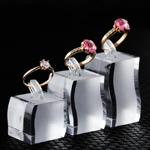 Acrylic simple mini ring display high quality square jewelry display wholesale