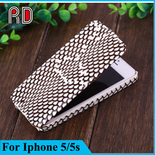 Real snake skin flip leather case for iphone 5s, flip genuine animal skin case for iphone 5s