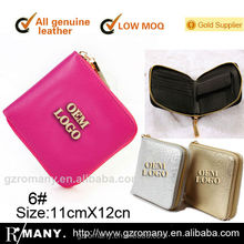 saffiano cowhide women/lady leather branded wallets top quality wallets small leather accessory zipper wallet with coin purse