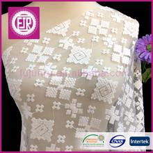 Fujunru hot sale 100% cotton plain fabric calico printing fabric lace embroidery on mesh