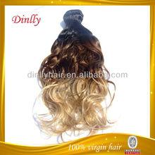 Wholesale virgin remy hair extension, 3 tone color ombre hair