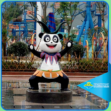 Fiberglass animal painted sculptures lovely panda statues