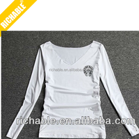 2014 top quanlity simple design cool fashion Innovative el ladies white t-shirt panel with little logo