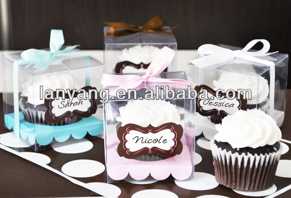 2015 fancy Clear pvc cupcake box, single cupcake boxes with insert and customized sticker wholesale
