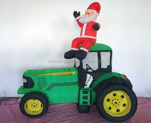 Outdoor inflatable christmas santa on truck for christmas decoration